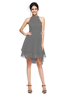 billiga Balklänningar-A-linje Hög hals Asymmetrisk Chiffong Den lilla svarta / Kort och lång Cocktailfest Klänning med Plisserat av TS Couture®
