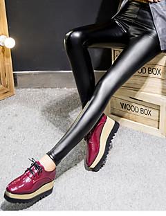 Legging médio para mulheres, moda sólida preto, pu calças elásticas