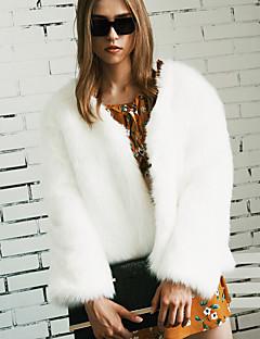 Для женщин На выход Большие размеры Осень Зима Пальто с мехом V-образный вырез,Простой Однотонный Обычная Длинный рукав,Искусственный мех
