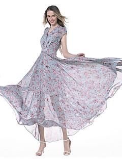 Feminino Bainha Chifon balanço Vestido,Festa Para Noite Casual Simples Moda de Rua Floral Decote V Longo Manga Curta AlgodãoTodas as
