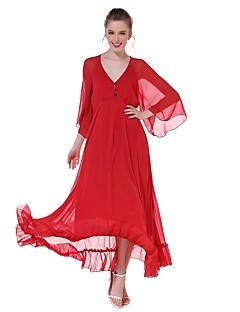 קיץ סתיו כותנה שרוול 4\3 מקסי צווארון V אחיד פשוטה סגנון רחוב Party ליציאה יום יומי\קז'ואל שמלה גזרת A נשים,גיזרה גבוהה קשיח דק
