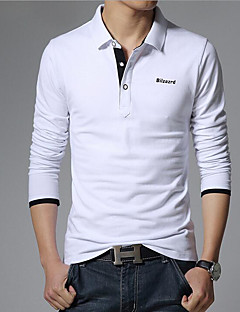 Men's Daily Casual Summer Polo,Solid Shirt Collar Long Sleeves Cotton
