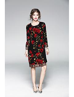 Χαμηλού Κόστους JOJO HANS-Γυναικεία Κλασσικό & Διαχρονικό Βαμβάκι Φαρδιά Θήκη Φόρεμα - Μονόχρωμο / Φλοράλ Ως το Γόνατο / Πάνω από το Γόνατο
