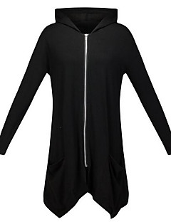 Women's Casual/Daily Simple Hoodie Solid Hooded Stretchy Polyester Long Sleeve Fall