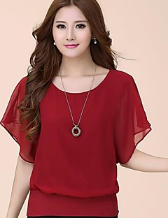 Women's Casual/Daily Simple T-shirt,Solid Round Neck Short Sleeves Polyester