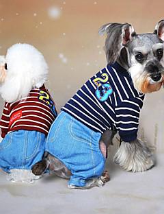 billiga Hundkläder-Hund Jumpsuits Hundkläder Jeans Grå Röd Blå Cotton Kostym För husdjur Herr Dam Cowboy Mode