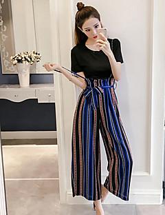 Dames Eenvoudig Zomer T-shirt Pantalon Kostuums,Casual/Dagelijks Gestreept Ronde hals Korte Mouw Katoen Micro-elastisch