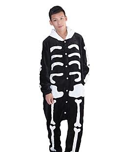 Kigurumi Pyjamas Skjelett Kostume Svart hvit Flannelstoff Cosplay Kostumer Kigurumi Trikot / Heldraktskostymer Cosplay Festival / høytid