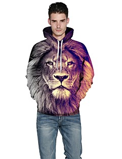 Men Realistic 3d Digital Lion Print Women Unisex  Pullover Sports Outdoor Active Hoodie Hooded Baseball Uniform Jacket Inelastic Polyester Rainbow