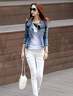 Women's Going out Simple Casual Winter Denim Jacket,Solid Shirt Collar ¾ Sleeve Short Polyester