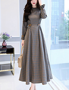 Women's Party Going out Simple Swing Dress,Check Patchwork Stand Maxi Long Sleeves Cotton Polyester Winter Fall High Rise Micro-elastic