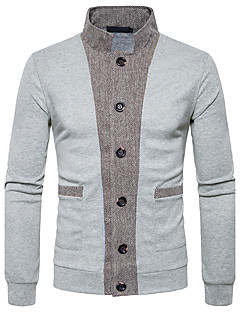 Men's Daily Regular Cardigan,Color Block Stand Long Sleeves Polyester Winter Fall Medium Micro-elastic