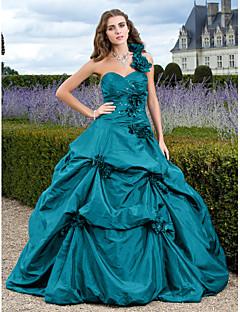billiga Aftonklänningar-Balklänning Enaxlad Hovsläp Taft Formell kväll Klänning med Applikationsbroderi / Pickup-kjol av TS Couture®