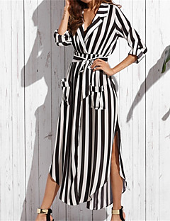 Kadın Parti Günlük/Sade Seksi Salaş Elbise Çizgili,Uzun Kollu V Yaka Maksi Pamuklu Yaz Sonbahar Normal Bel Esnemez İnce