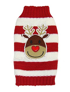 Dog Coat Sweater Dog Clothes Party Holiday Casual/Daily Wedding Fashion Christmas New Year's Reindeer Black Red Blue
