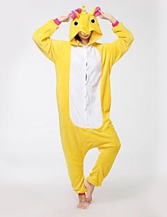 billige Kigurumi-Kigurumi-pysjamas Pegasus Enhjørning Onesie-pysjamas Kostume Flannelstoff Gul Cosplay Til Voksne Pysjamas med dyremotiv Tegnefilm