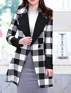 hesapli Women's Wool Coats-Kadın's Yünlü Dik Yaka Ekose Çalışma Dışarı Çıkma Kaban