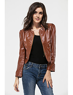 YUNTUO® Women's Fashion PU Leather Jackets Going Out Solid Brown