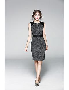 Χαμηλού Κόστους JOJO HANS-Γυναικεία Θήκη Φόρεμα - Μονόχρωμο / Κέντημα, Στάμπα Ως το Γόνατο