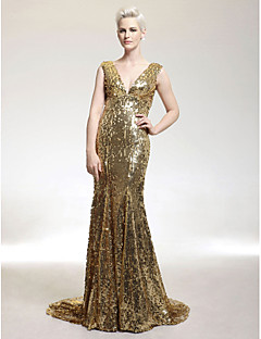 cheap Wedding Guest Dresses-Mermaid / Trumpet V Neck Sweep / Brush Train Sequined Formal Evening Military Ball Dress with Sequin by TS Couture®