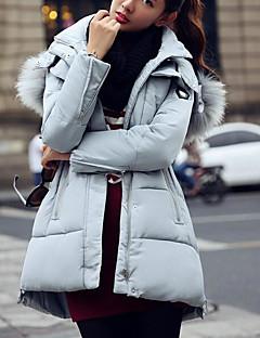 Damen Gefüttert Mantel,Lang Sexy Einfach Niedlich Ausgehen Lässig/Alltäglich Arbeit Solide Druck-Baumwolle Acryl Polyester Polyester