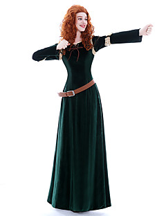 billige Halloweenkostymer-Prinsesse Queen Modig Merida Cosplay Kostumer Maskerade Party-kostyme Film-Cosplay Mørkegrønn Kjole Belte Parykker Jul Halloween Karneval