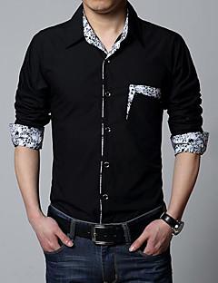 billige Herremote og klær-Bomull Tynn Skjorte - Ensfarget Helg Herre