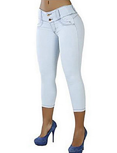 Women's Mid Rise Micro-elastic Jeans Pants,Sexy Skinny Solid