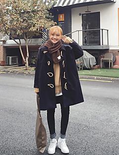 レディース カジュアル/普段着 冬 コート,シンプル ショールラペル ソリッド ロング コットン 長袖