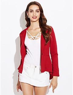 Women's Ruffle One Button Fishtail Irregular Solid Slim Blazer