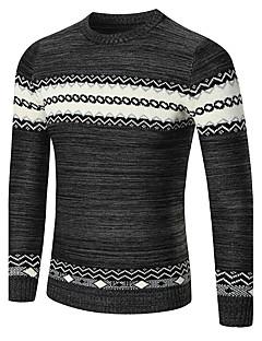 tanie Męskie swetry i swetry rozpinane-Męskie Klubowa Praca Vintage Boho Okrągły dekolt Pulower Wielokolorowa
