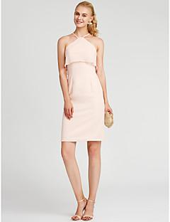 Sütun Boyundan Bağlamalı Diz Boyu Şifon ile Kokteyl Partisi Elbise tarafından TS Couture®
