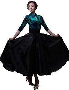 Latin Dance Dresses Women's Performance Tulle Netting Chiffon Velvet Chiffon
