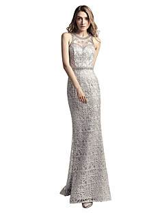Mermaid / Trumpet Jewel Neck Sweep / Brush Train Lace Rehearsal Dinner Formal Evening Dress with Beading Lace by Sarahbridal