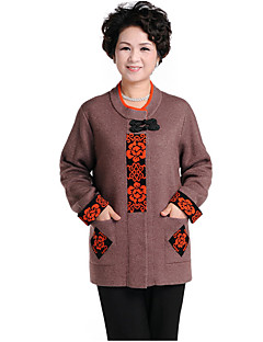 baratos Suéteres de Mulher-Mulheres Manga Longa Lã Carregam Estampado Lã