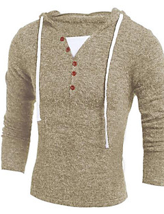 Men's Casual/Daily Simple Regular Cardigan,Solid V Neck Long Sleeves Polyester Spring Fall Medium Micro-elastic