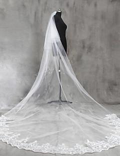 Πέπλα Γάμου Δύο-βαθμίδων Μακριά Πέπλα Πολύ Μακριά Πέπλα Άκρη με Απλίκα Δαντέλας Δαντέλα Τούλι