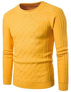 tanie Męskie swetry i swetry rozpinane-Męskie Casual Okrągły dekolt Pulower Solidne kolory Długi rękaw