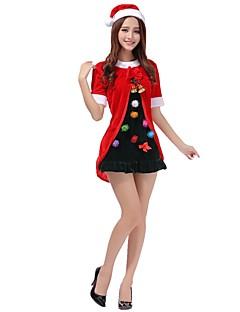 billige julen Kostymer-Nisse drakter Mrs.Claus Drakter Dame Voksne Jul Festival / høytid Halloween-kostymer Vintage