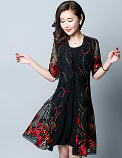 Women's Party Casual Summer T-shirt Skirt Suits,Floral V Neck Short Sleeve Others