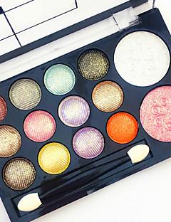 12 Glitter Shimmer Color Eyeshadow+2  Color Blush Allıklar+Göz Farları Ayna Makyaj Fırçaları Kuru Mat Pırıl Pırıl Erkek Yüz Erkek ve