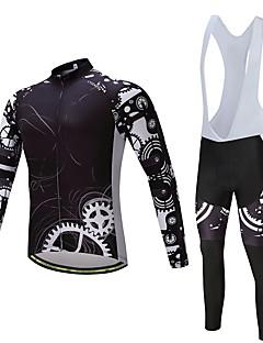 billige Sett med sykkeltrøyer og shorts/bukser-Langermet Sykkeljersey med bib-tights Sykkel Klessett, Hold Varm Polyester, Fleece, Silikon / Lycra