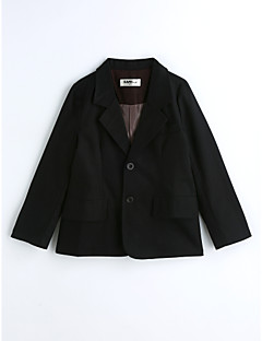 Boys' Solid Suit & Blazer,Cotton Spring Fall Long Sleeve Black