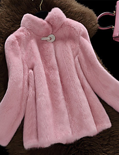 cheap -Women's Daily Simple Casual Winter Fur Coat,Solid Stand Long Sleeve Regular Faux Fur Fur Trim