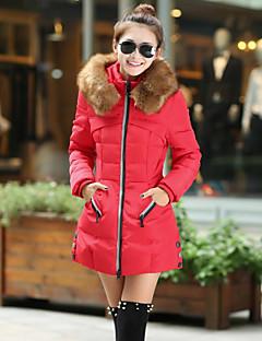 Manteau Rembourré Femme,Longue Vintage simple Mignon Sortie Décontracté / Quotidien Grandes Tailles Couleur Pleine-Coton Polyester Coton