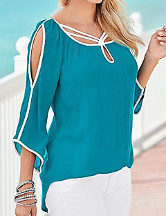 Women's Casual/Daily Simple T-shirt,Solid Round Neck 3/4 Length Sleeves Polyester