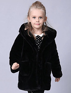 Girls' Solid Jacket & Coat,Faux Fur Special Fur Types Winter Long Sleeve Black