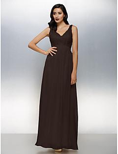 billige Paljettkjoler-A-linje V-hals Gulvlang Chiffon Glitrende Cocktailfest / Formell kveld Kjole med Perlearbeid av TS Couture®
