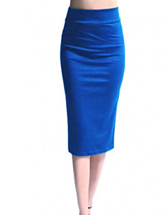 Women's Casual/Daily Midi Skirts A Line Pencil Solid Spring