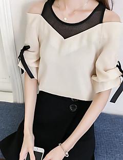 Damen Solide Niedlich Ausgehen Bluse,V-Ausschnitt Kurzarm Baumwolle